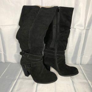 Torrid Black Suede Boho Buckle Boots